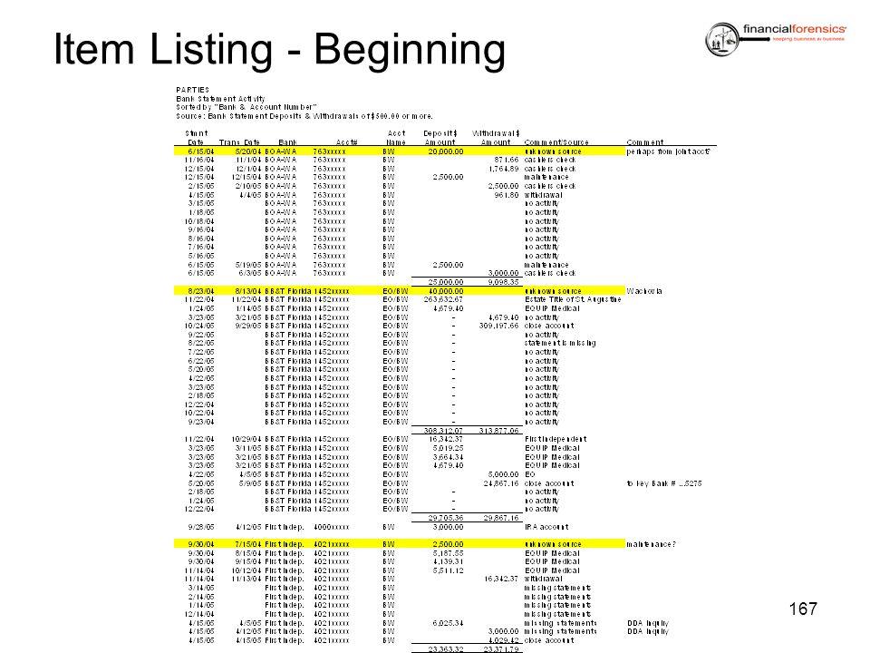 Item Listing - Beginning 167
