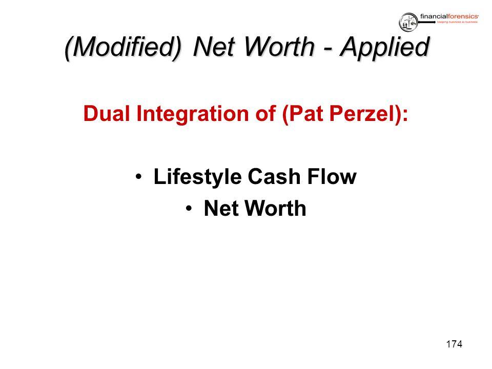 (Modified) Net Worth - Applied Dual Integration of (Pat Perzel): Lifestyle Cash Flow Net Worth 174