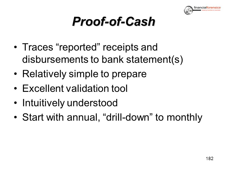 Proof-of-Cash Traces reported receipts and disbursements to bank statement(s) Relatively simple to prepare Excellent validation tool Intuitively under