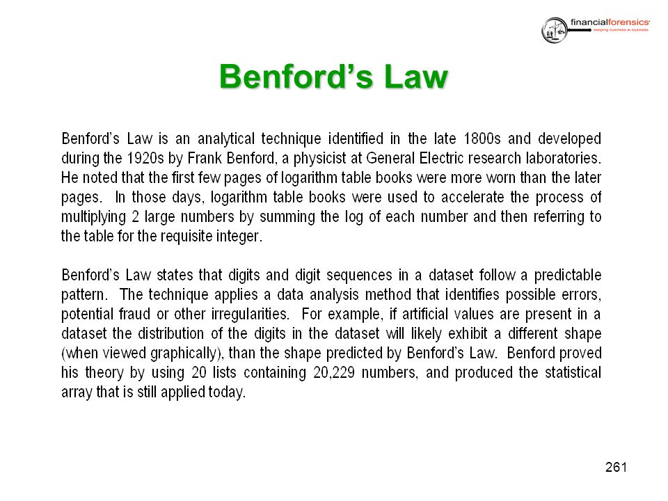 Benfords Law 261