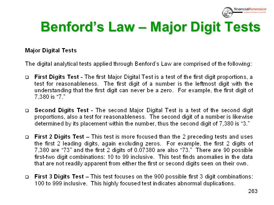 Benfords Law – Major Digit Tests 263