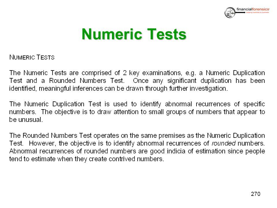 Numeric Tests 270