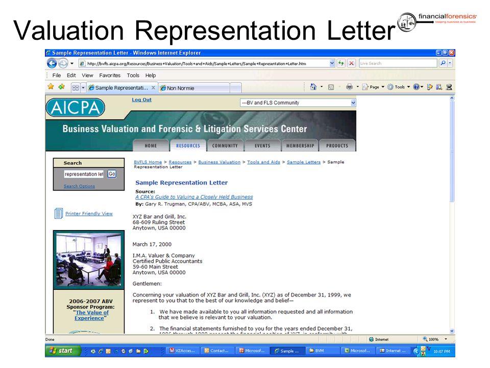 Valuation Representation Letter