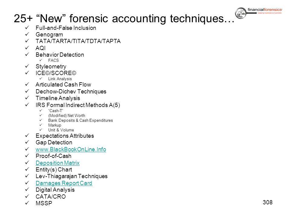 25+ New forensic accounting techniques… Full-and-False Inclusion Genogram TATA/TARTA/TITA/TDTA/TAPTA AQI Behavior Detection FACS Styleometry ICE©/SCOR