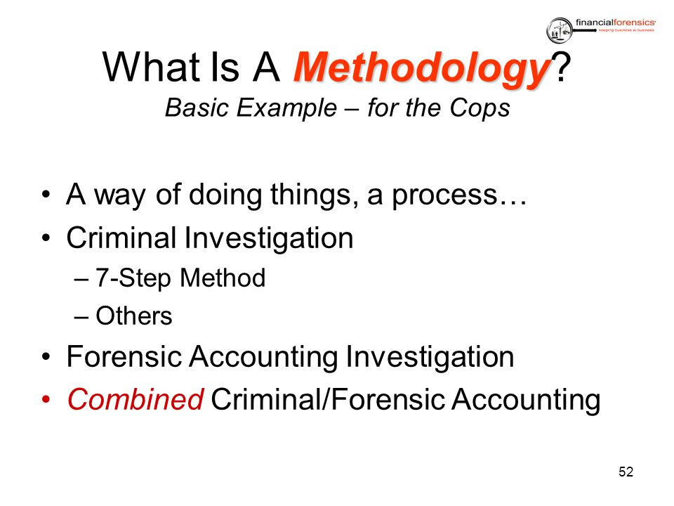 Methodology What Is A Methodology? Basic Example – for the Cops A way of doing things, a process… Criminal Investigation –7-Step Method –Others Forens