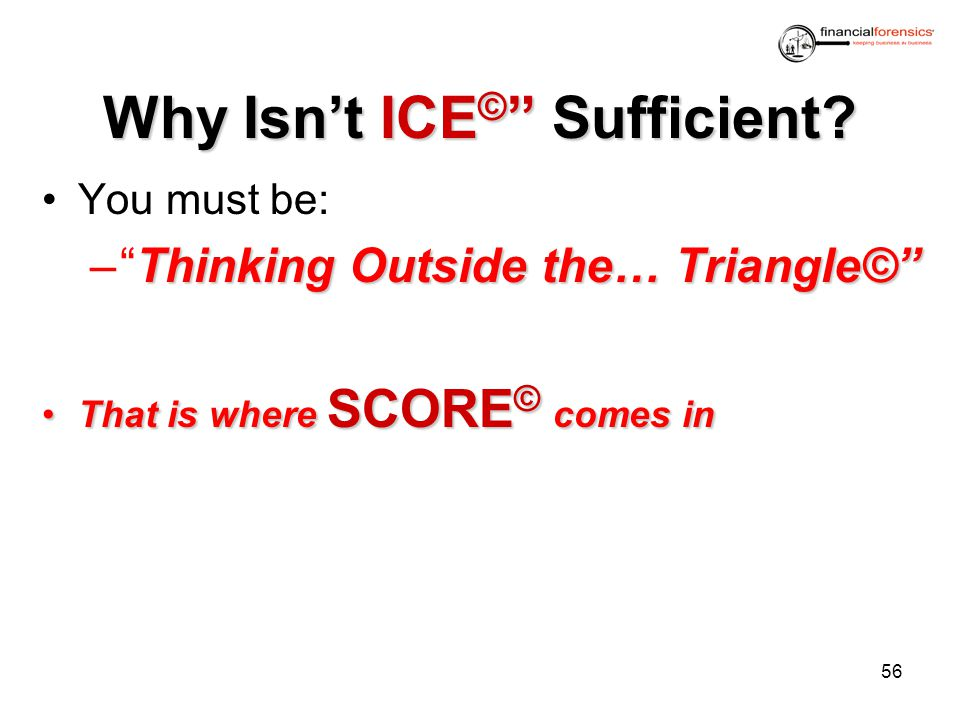 Why IsntICE © Sufficient? Why Isnt ICE © Sufficient? You must be: ThinkingOutside the… Triangle© –Thinking Outside the… Triangle© That is where SCORE