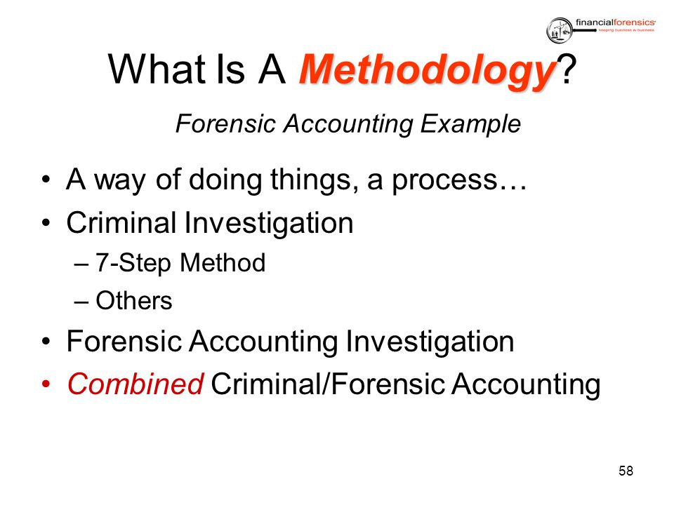 Methodology What Is A Methodology? Forensic Accounting Example A way of doing things, a process… Criminal Investigation –7-Step Method –Others Forensi