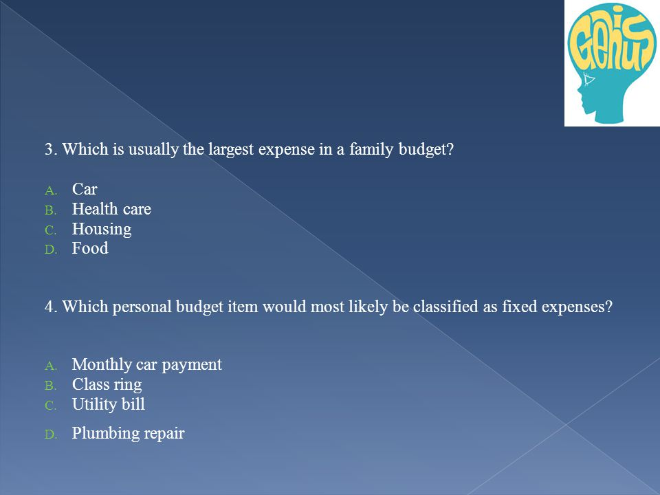 3. Which is usually the largest expense in a family budget.