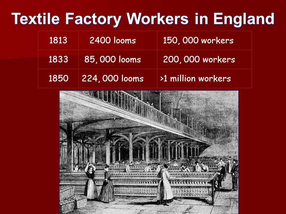 Textile Factory Workers in England 1813 2400 looms 150, 000 workers 1833 85, 000 looms 200, 000 workers 1850224, 000 looms>1 million workers
