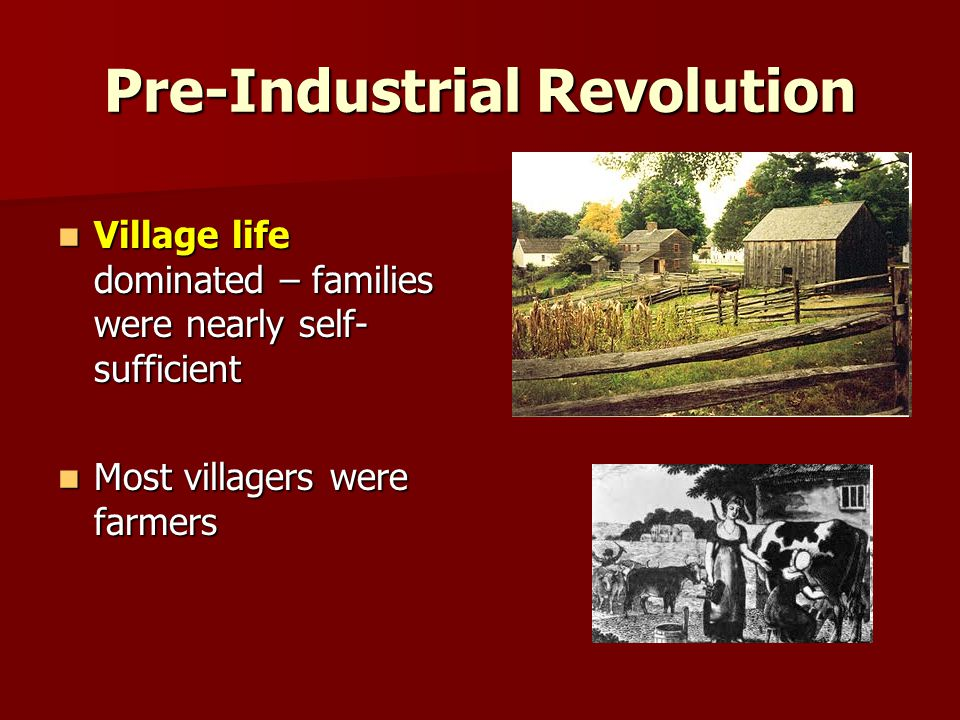 Pre-Industrial Revolution Village life dominated – families were nearly self- sufficient Village life dominated – families were nearly self- sufficient Most villagers were farmers Most villagers were farmers