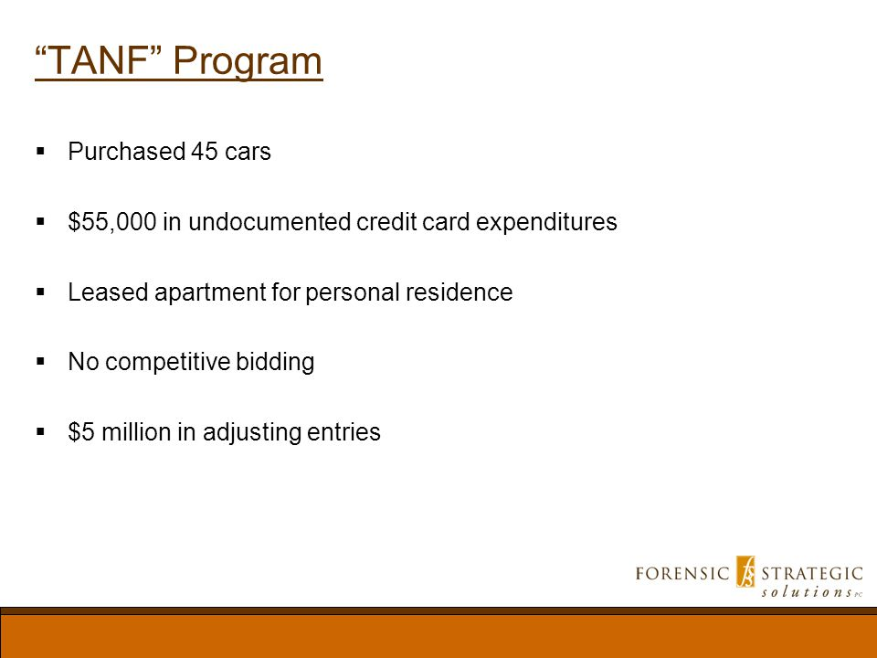 TANF Program Purchased 45 cars $55,000 in undocumented credit card expenditures Leased apartment for personal residence No competitive bidding $5 million in adjusting entries