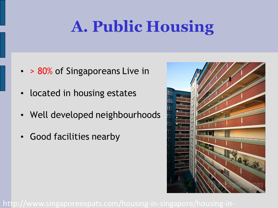 A. Public Housing > 80% of Singaporeans Live in located in housing estates Well developed neighbourhoods Good facilities nearby http://www.singaporeex