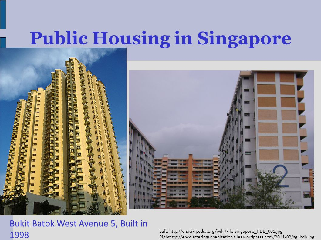 Public Housing in Singapore Bukit Batok West Avenue 5, Built in 1998 Left:   Right: ttp://encounteringurbanization.files.wordpress.com/2011/02/sg_hdb.jpg