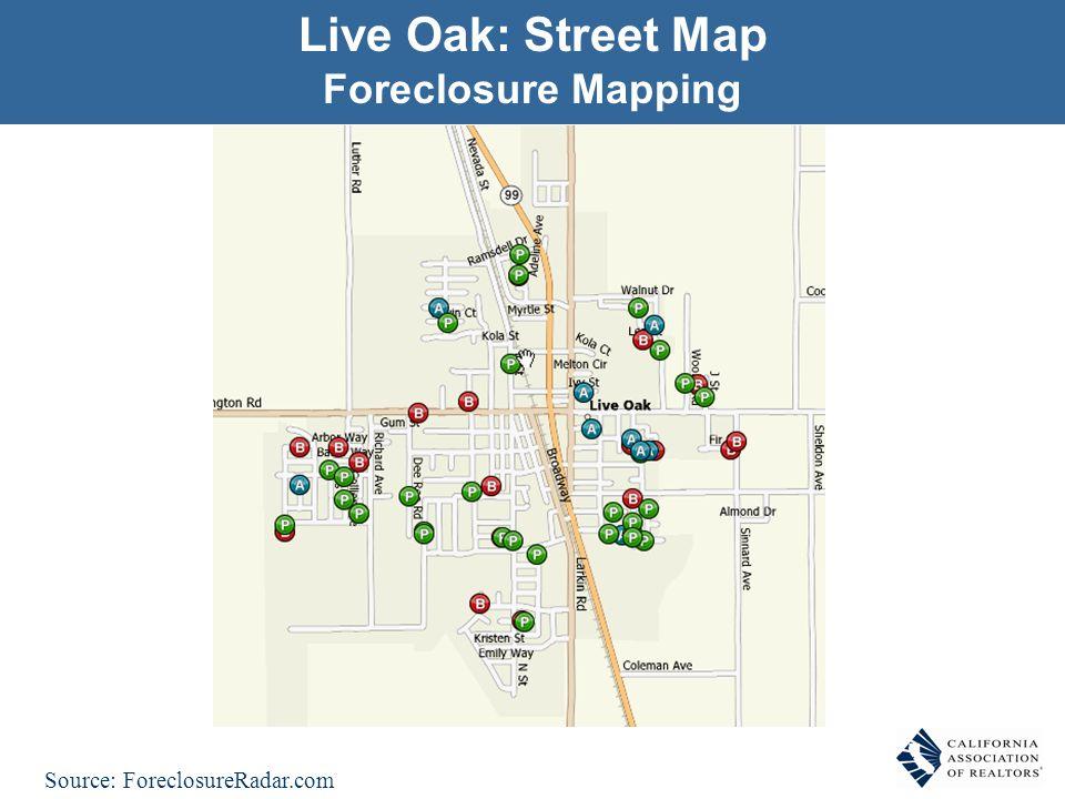 Live Oak: Street Map Foreclosure Mapping Source: ForeclosureRadar.com