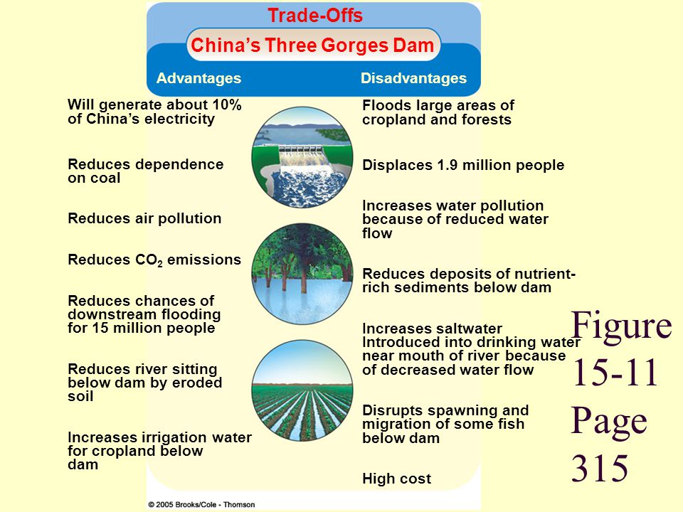 Figure 15-11 Page 315 Trade-Offs Chinas Three Gorges Dam Advantages Disadvantages Will generate about 10% of Chinas electricity Reduces dependence on