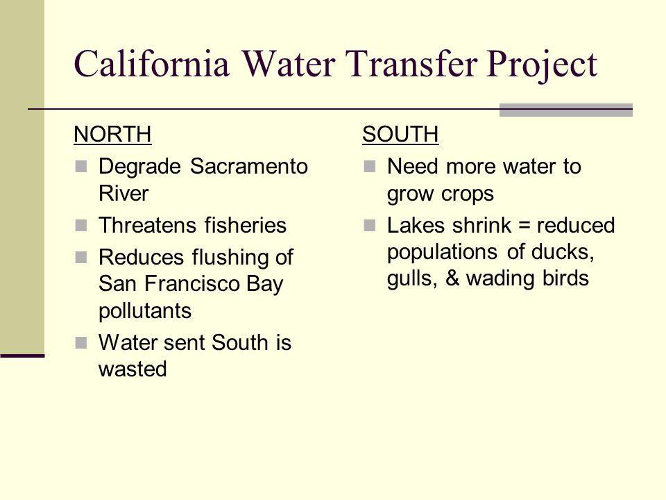 California Water Transfer Project NORTH Degrade Sacramento River Threatens fisheries Reduces flushing of San Francisco Bay pollutants Water sent South