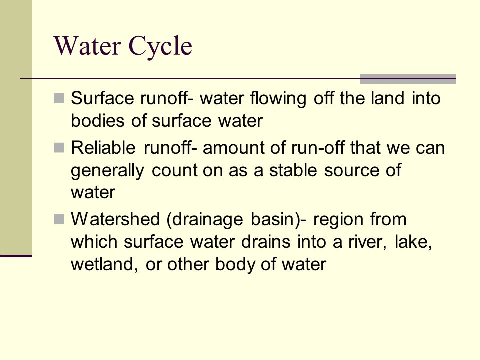 Runoff Water Cycle Water Cycle Surface Runoff
