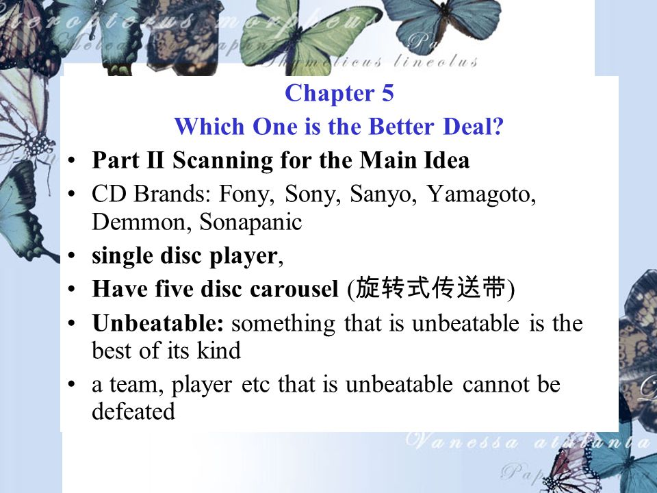 Chapter 5 Which One is the Better Deal.