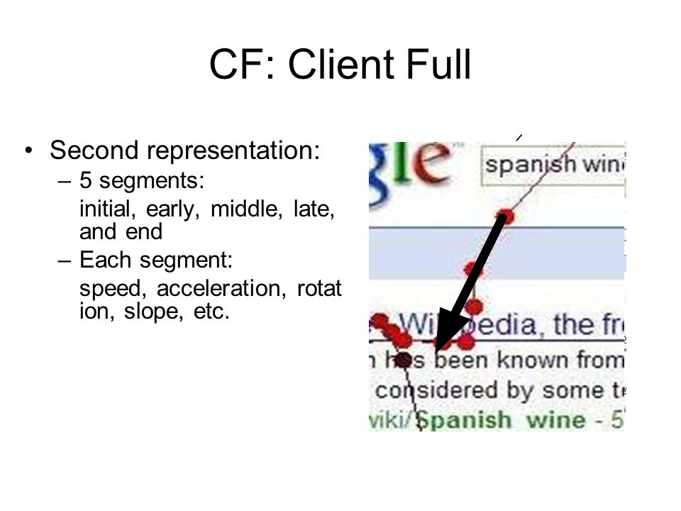 CF: Client Full Second representation: –5 segments: initial, early, middle, late, and end –Each segment: speed, acceleration, rotat ion, slope, etc. 1