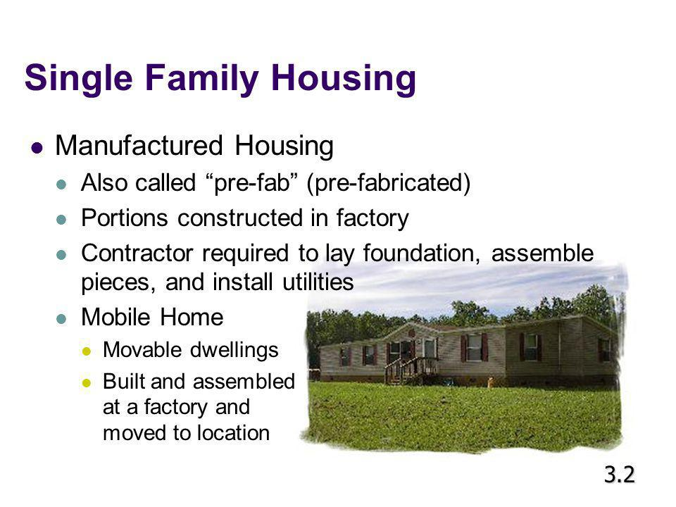 Multi Family Housing Duplex One building that contains two separate units 3.2