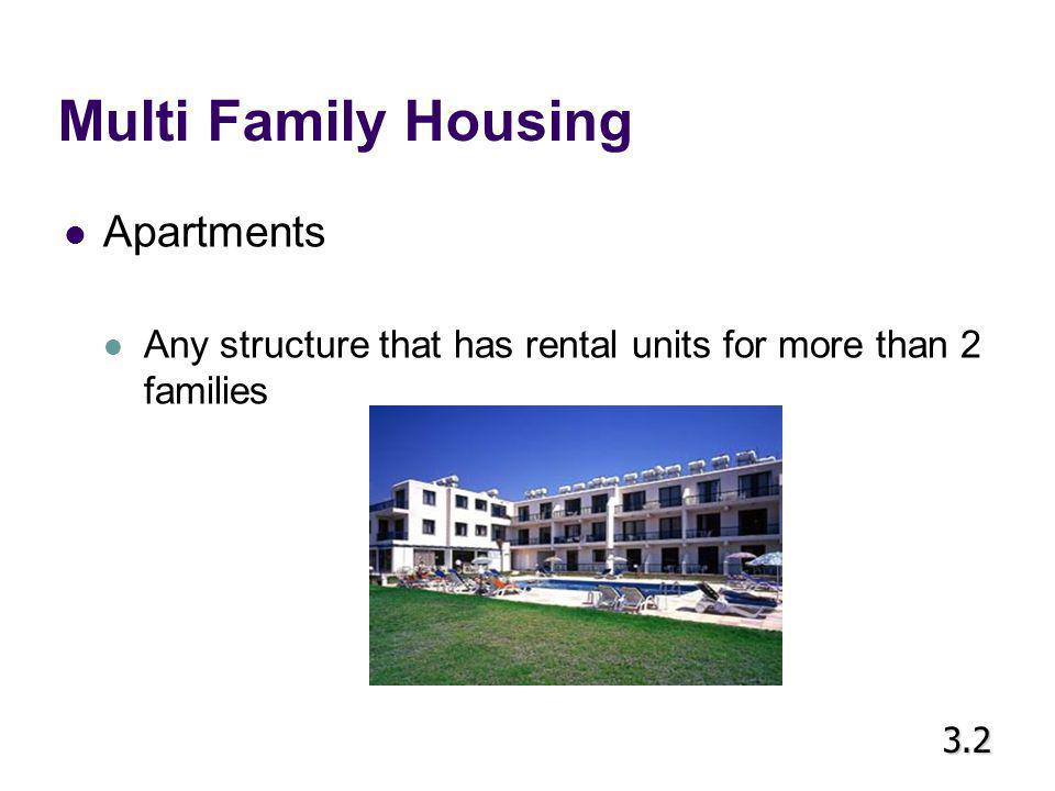 Multi Family Housing Condominium Individually owned units in a multiple-family dwelling Owner pays a fee to cover maintaining hallways, landscaping, and other common areas 3.2