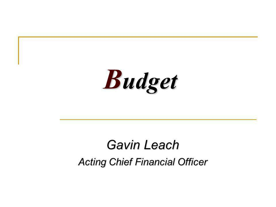 B udget Gavin Leach Acting Chief Financial Officer