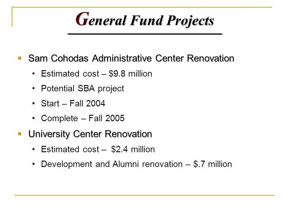 G eneral Fund Projects Sam Cohodas Administrative Center Renovation Sam Cohodas Administrative Center Renovation Estimated cost – $9.8 million Potential SBA project Start – Fall 2004 Complete – Fall 2005 University Center Renovation University Center Renovation Estimated cost – $2.4 million Development and Alumni renovation – $.7 million