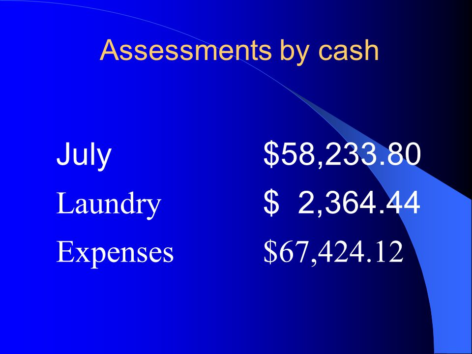 Assessments by cash July$58,233.80 Laundry $ 2,364.44 Expenses$67,424.12