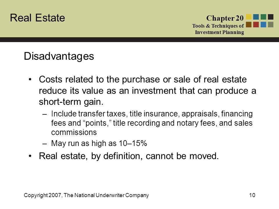 Real Estate Chapter 20 Tools & Techniques of Investment Planning Copyright 2007, The National Underwriter Company10 Disadvantages Costs related to the