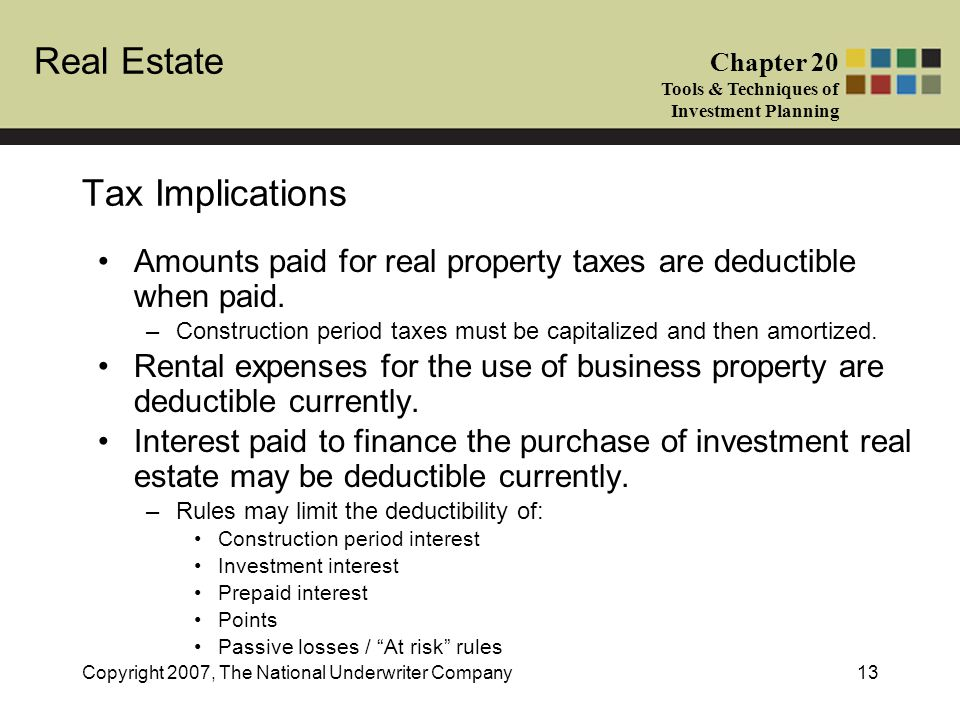 Real Estate Chapter 20 Tools & Techniques of Investment Planning Copyright 2007, The National Underwriter Company13 Tax Implications Amounts paid for