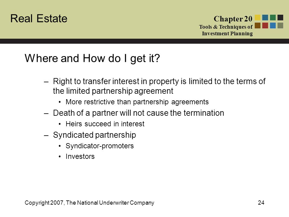 Real Estate Chapter 20 Tools & Techniques of Investment Planning Copyright 2007, The National Underwriter Company24 Where and How do I get it? –Right