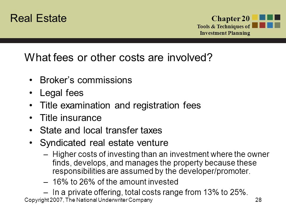 Real Estate Chapter 20 Tools & Techniques of Investment Planning Copyright 2007, The National Underwriter Company28 What fees or other costs are invol