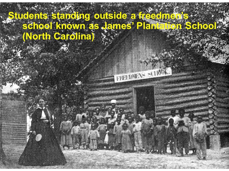 Students standing outside a freedmens school known as James Plantation School (North Carolina)