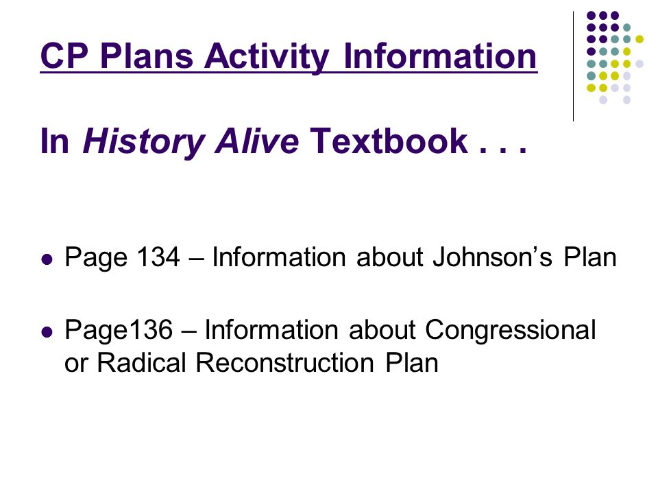 CP Plans Activity Information In History Alive Textbook... Page 134 – Information about Johnsons Plan Page136 – Information about Congressional or Rad