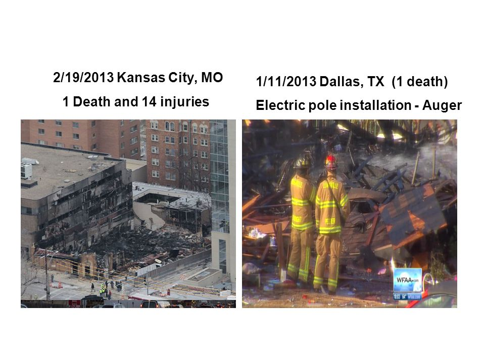 2/19/2013 Kansas City, MO 1 Death and 14 injuries 1/11/2013 Dallas, TX (1 death) Electric pole installation - Auger