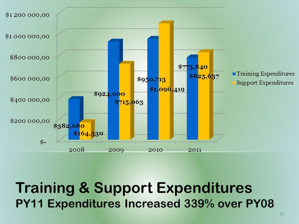 12 Training & Support Expenditures PY11 Expenditures Increased 339% over PY08