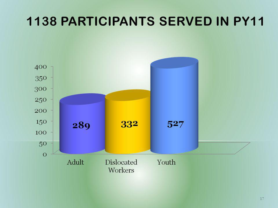 1138 PARTICIPANTS SERVED IN PY11 17