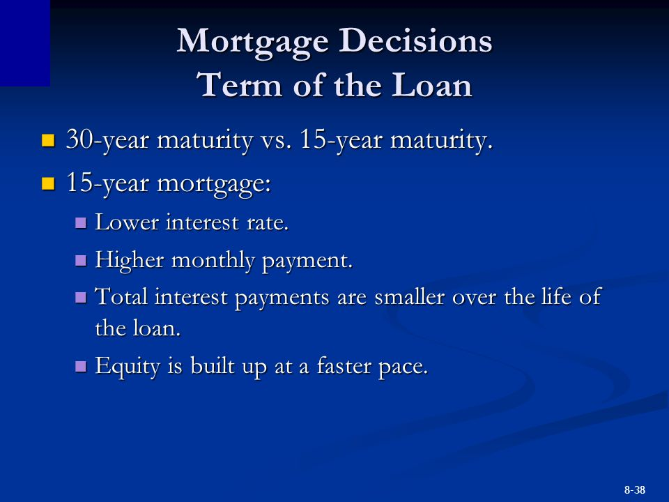 8-38 Mortgage Decisions Term of the Loan 30-year maturity vs. 15-year maturity. 30-year maturity vs. 15-year maturity. 15-year mortgage: 15-year mortg