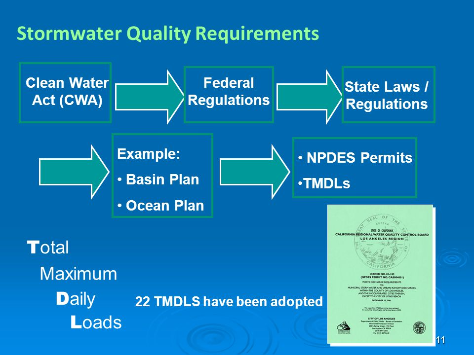 11 Stormwater Quality Requirements Clean Water Act (CWA) Federal Regulations State Laws / Regulations Example: Basin Plan Ocean Plan NPDES Permits TMD