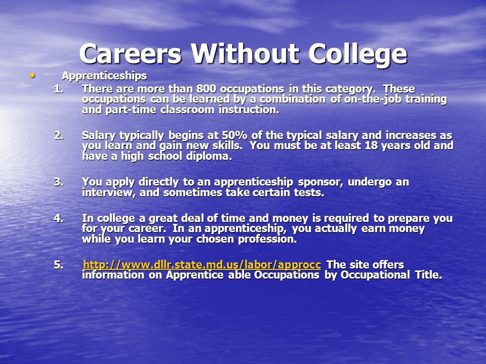 CAREER PLANNING RESOURCES Career Voyages   Website is co-sponsored by the U.S.