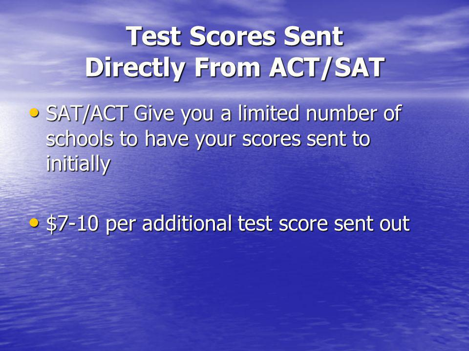 ACT or SAT Check with college for preference Check with college for preference ACT: designed to measure academic achievement in the areas of: English, Math, Reading, and Science Reasoning.