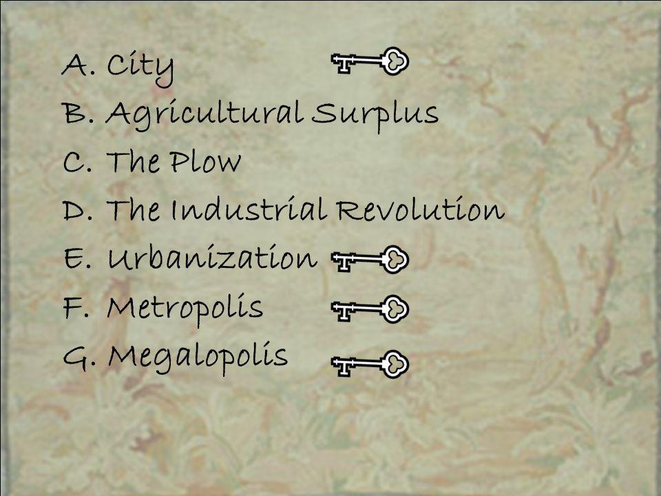 A.City B.Agricultural Surplus C.The Plow D.The Industrial Revolution E.Urbanization F.Metropolis G.