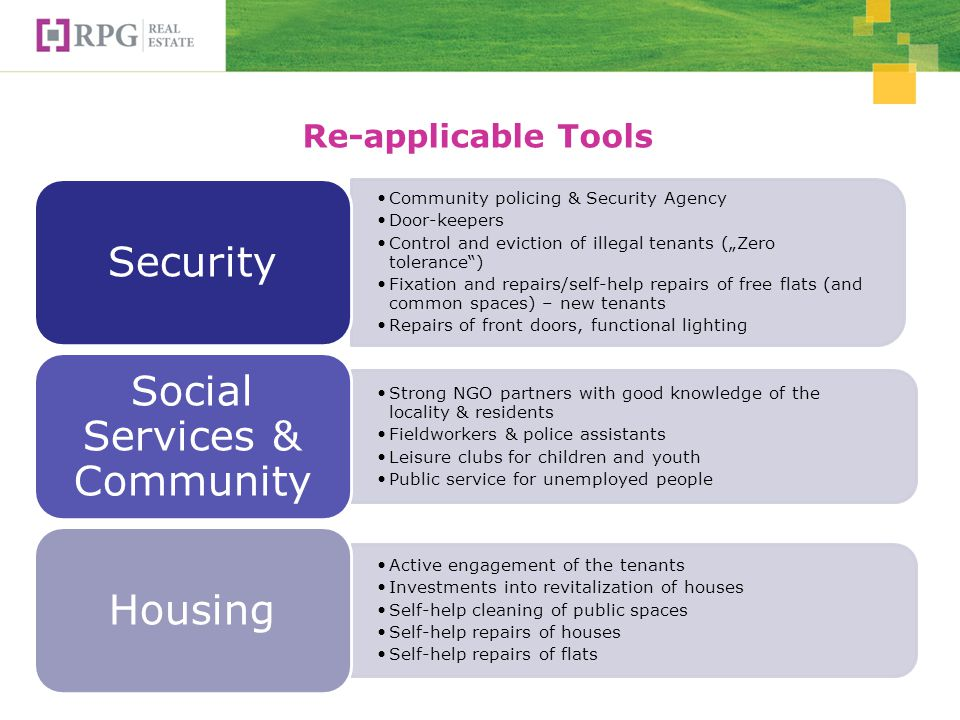 Re-applicable Tools Community policing & Security Agency Door-keepers Control and eviction of illegal tenants (Zero tolerance) Fixation and repairs/self-help repairs of free flats (and common spaces) – new tenants Repairs of front doors, functional lighting Security Strong NGO partners with good knowledge of the locality & residents Fieldworkers & police assistants Leisure clubs for children and youth Public service for unemployed people Social Services & Community Active engagement of the tenants Investments into revitalization of houses Self-help cleaning of public spaces Self-help repairs of houses Self-help repairs of flats Housing