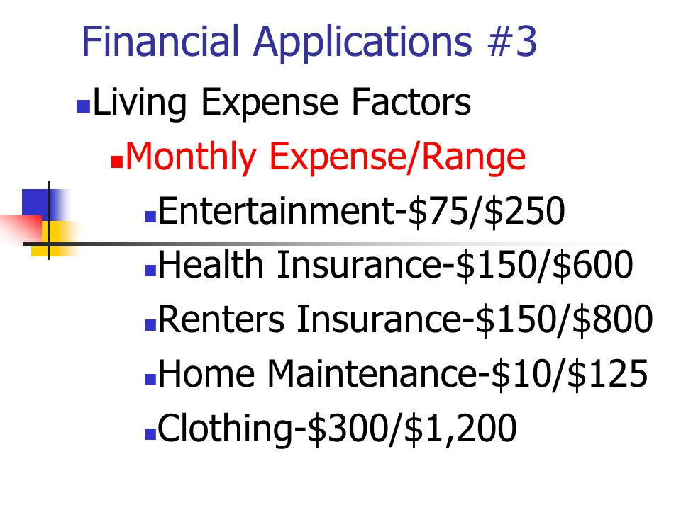 Financial Applications #3 Living Expense Factors Monthly Expense/Range Entertainment-$75/$250 Health Insurance-$150/$600 Renters Insurance-$150/$800 Home Maintenance-$10/$125 Clothing-$300/$1,200