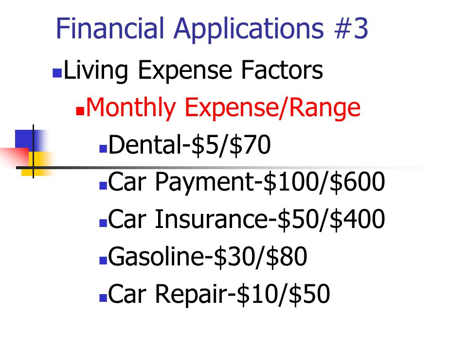 Financial Applications #3 Living Expense Factors Monthly Expense/Range Dental-$5/$70 Car Payment-$100/$600 Car Insurance-$50/$400 Gasoline-$30/$80 Car Repair-$10/$50