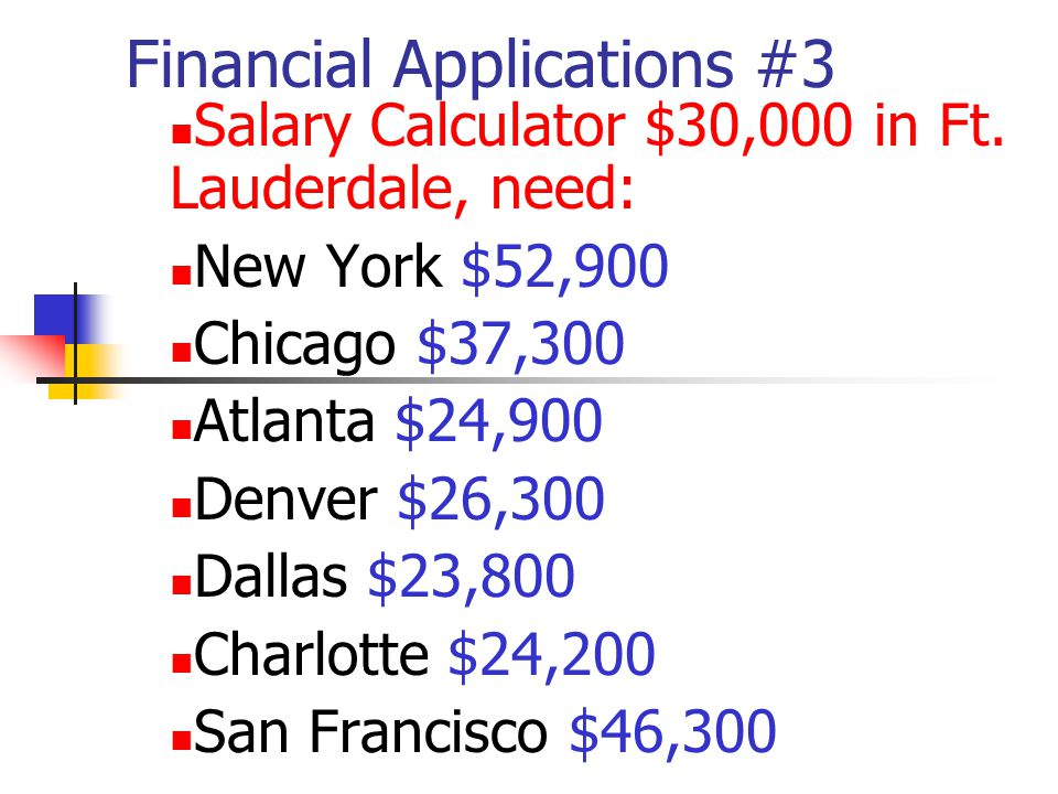 Financial Applications #3 Salary Calculator $30,000 in Ft.