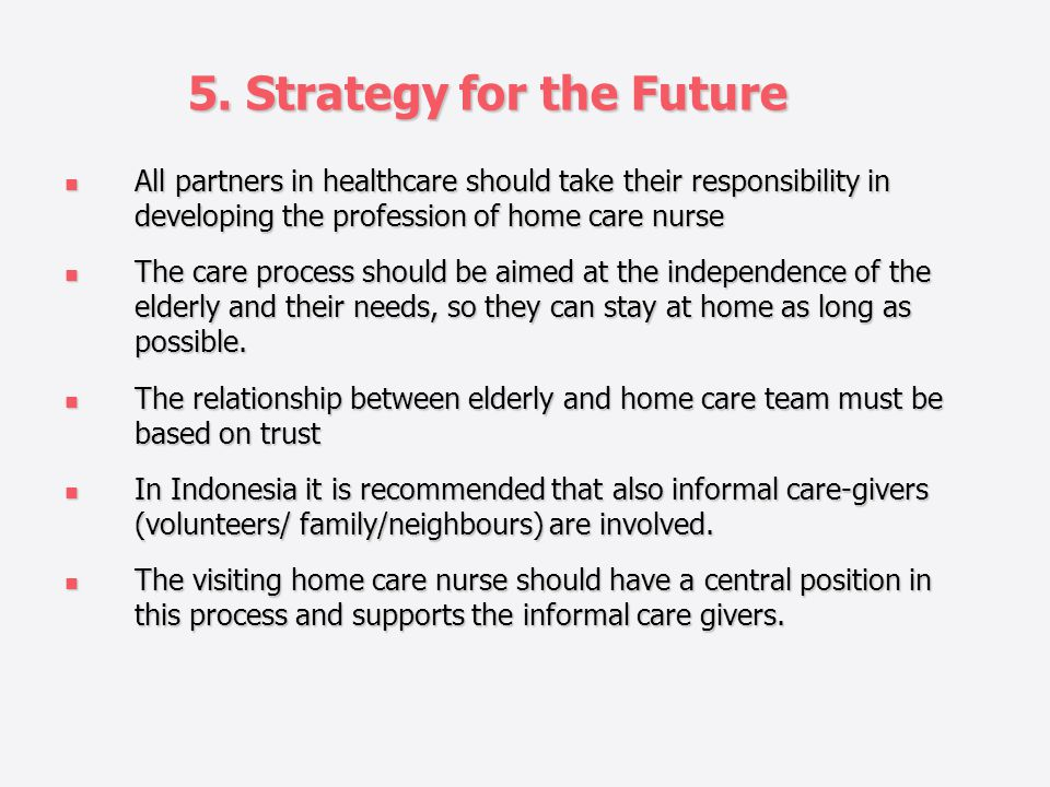 5. Strategy for the Future All partners in healthcare should take their responsibility in developing the profession of home care nurse All partners in