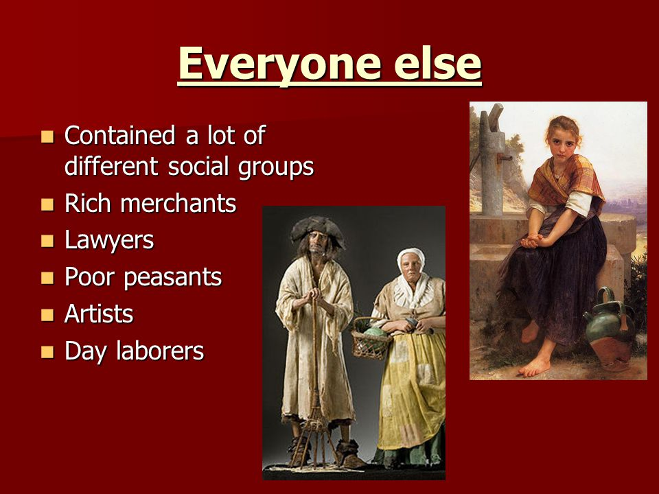 Everyone else Contained a lot of different social groups Contained a lot of different social groups Rich merchants Rich merchants Lawyers Lawyers Poor