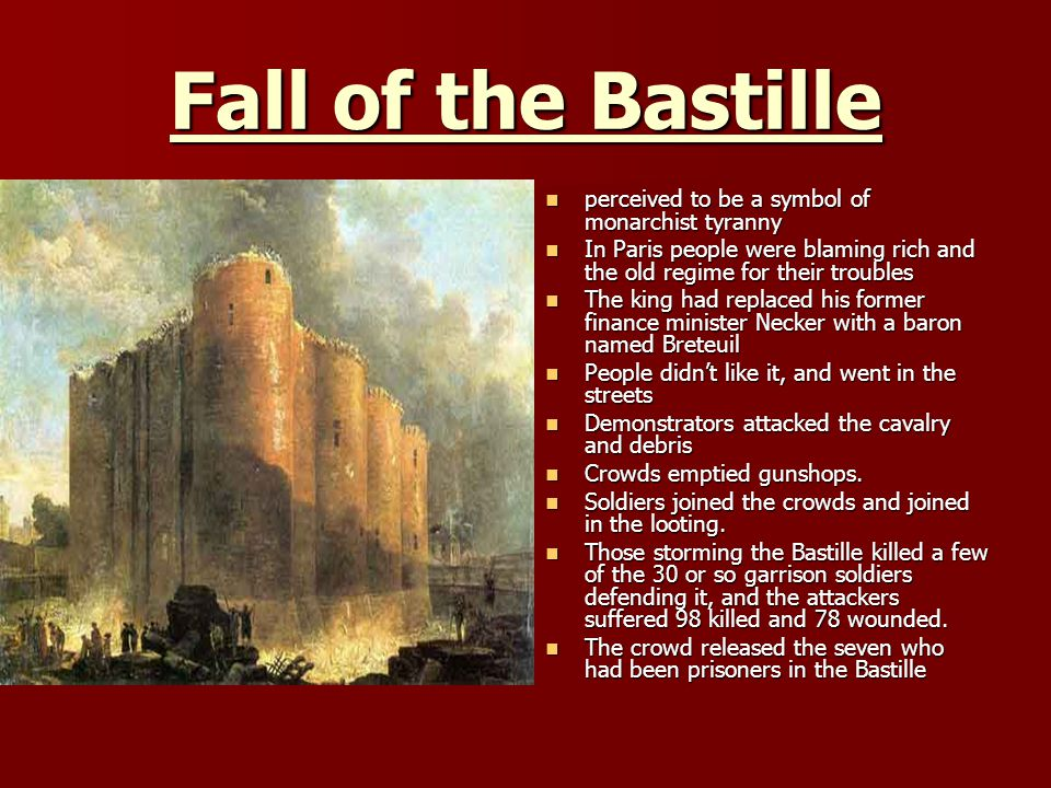 Fall of the Bastille perceived to be a symbol of monarchist tyranny perceived to be a symbol of monarchist tyranny In Paris people were blaming rich and the old regime for their troubles In Paris people were blaming rich and the old regime for their troubles The king had replaced his former finance minister Necker with a baron named Breteuil The king had replaced his former finance minister Necker with a baron named Breteuil People didnt like it, and went in the streets People didnt like it, and went in the streets Demonstrators attacked the cavalry and debris Demonstrators attacked the cavalry and debris Crowds emptied gunshops.