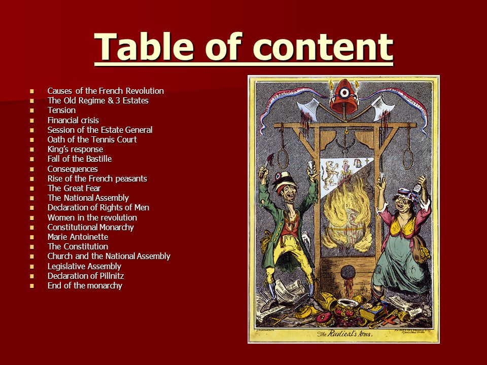 Table of content Causes of the French Revolution Causes of the French Revolution The Old Regime & 3 Estates The Old Regime & 3 Estates Tension Tension Financial crisis Financial crisis Session of the Estate General Session of the Estate General Oath of the Tennis Court Oath of the Tennis Court Kings response Kings response Fall of the Bastille Fall of the Bastille Consequences Consequences Rise of the French peasants Rise of the French peasants The Great Fear The Great Fear The National Assembly The National Assembly Declaration of Rights of Men Declaration of Rights of Men Women in the revolution Women in the revolution Constitutional Monarchy Constitutional Monarchy Marie Antoinette Marie Antoinette The Constitution The Constitution Church and the National Assembly Church and the National Assembly Legislative Assembly Legislative Assembly Declaration of Pillnitz Declaration of Pillnitz End of the monarchy End of the monarchy